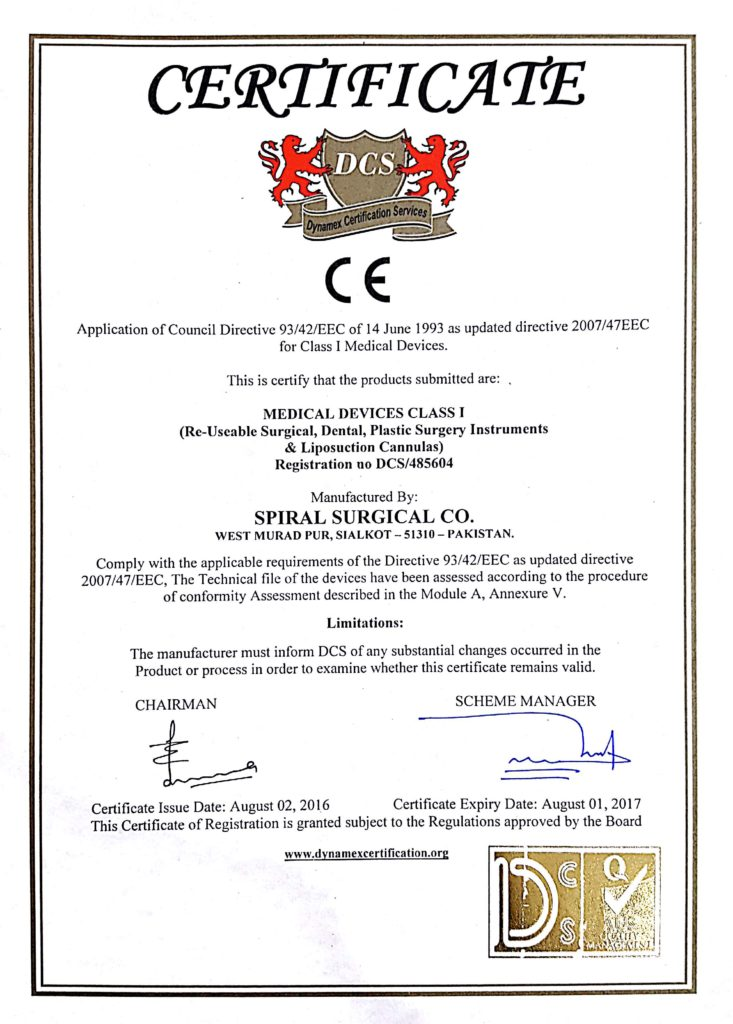 Certifications Online Shop Spiral Surgical Co